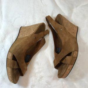 Ugg Leather Cork Heel Wedges